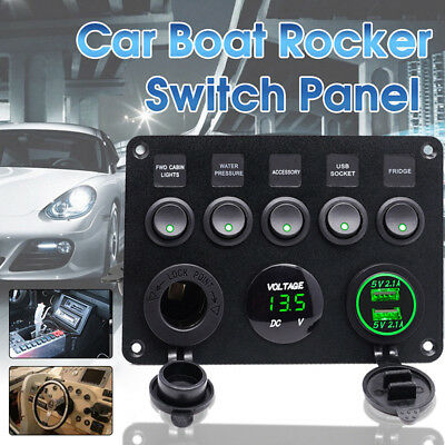 5 Gang ON-OFF Toggle Switch Control Panel 2USB For Car Marine Boat RV Camper Van
