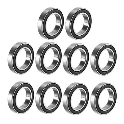 Deep Groove Ball Bearing 6802-2RS Double Sealed,15mmx24mmx5mm Carbon Steel 10Pcs