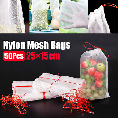 "50PCS Garden Plant Fruit Protect Drawstring Net Bag Mesh Anti Insect Bird 10""×6"""