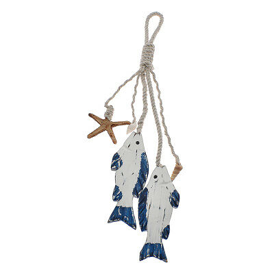 Wooden Fish Wall Hanging Coastal Village Nautical Figure Home Room Ornament Wood
