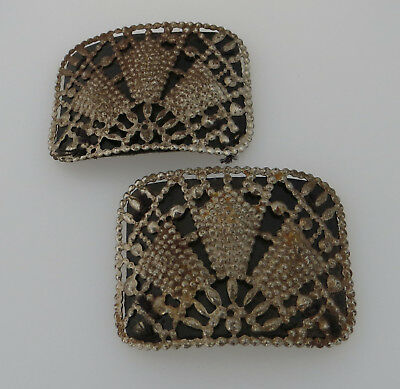 Vintage Shoe ? Buckles - Simulated Cut Steel Style Detail Leather Effect Backing