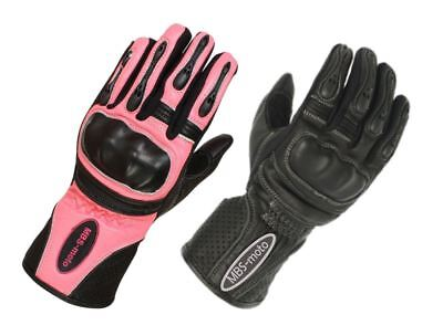 Woman Ladies Summer Leather Protective Gloves for Motorcycle Motorbike Scooter