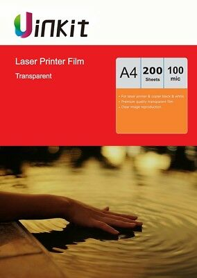 A4 OHP Film Overhead Project Film Clear for Laser Printer Uinkit - 200 Sheets