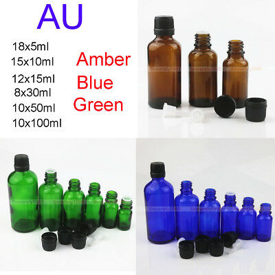 8X~90X Amber 5/10/30/100ML Glass Drop Bottles Dropper Reducer for Essential Oils