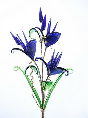 Royal Blue Crystal Glass Flowers Lovely Romantic Decoration For Living Room New