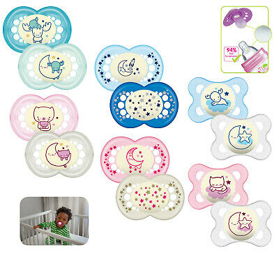Mam Baby Soother Dummy Pacifier Teat Nipple 2 Pack Boy / Girl Night Glow in Dark