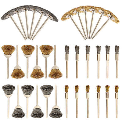 36pc Rotary Wire Brass Brush Drill Attachment Polishing Cup Wheel Set for Dremel