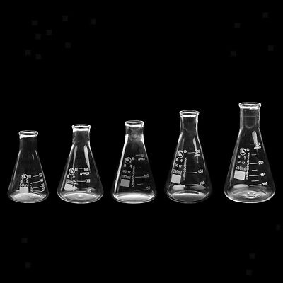 Lab Glass Erlenmeyer Flasks Conical Bottles Chemistry Glassware 50ml - 2000ml