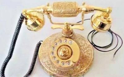 Solid Brass Vintage French Victorian Style Rotary Dial Phone