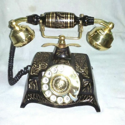 Brass Vintage French Victorian Style Rotary Dial Phone