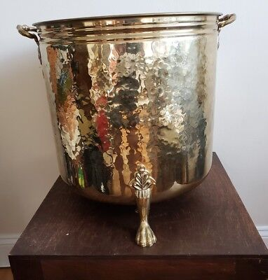 """Large Hammered Brass Handled & Footed Planter 14.5"""" Diameter 15"""" High"""