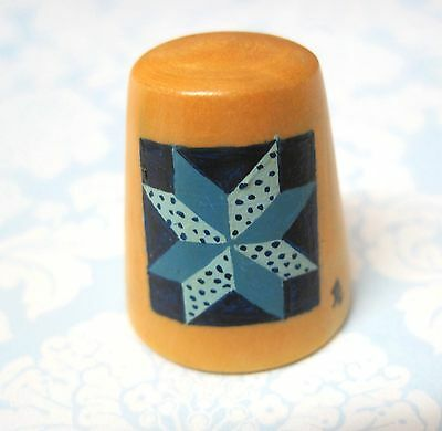 Hand Painted Signed Numbered Thimble 8 Pointed Star Quilting Block Pattern M7
