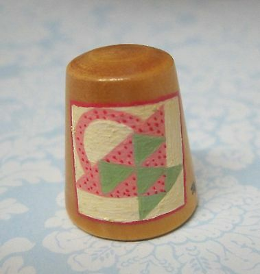 Hand Painted Signed Numbered Thimble Basket Quilting Block Pattern M7