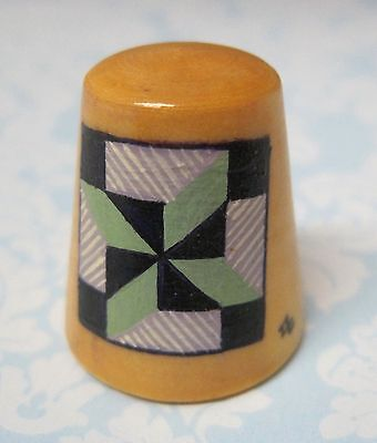 Hand Painted Signed Numbered Thimble Clay's Choice Quilting Block Pattern M7