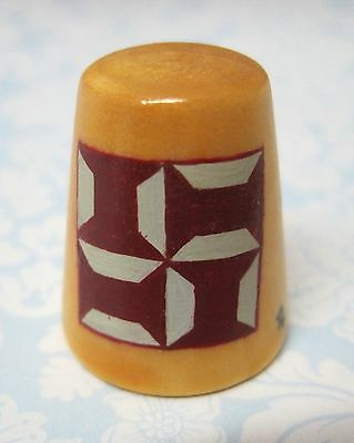 Hand Painted Signed Numbered Thimble Spool Quilting Block Pattern M7