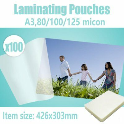 Custom Pack Quality laminating Pouches Gloss or Matt A3, 80/100/125 100pcs NSW