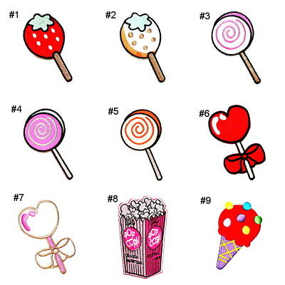 Fancy lollipop Sweet Snack Party Popcorn Ice cream DIY Kid Clothes Iron on Patch