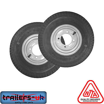 "2 x Trailer Wheels and Tyres 480/400 x 8"" with a 115mm PCD"