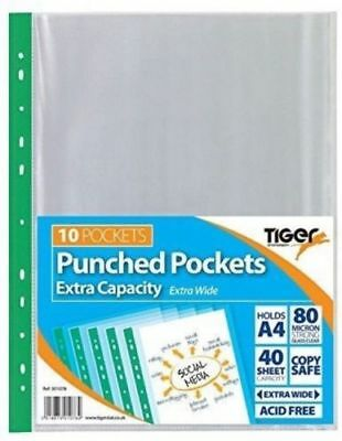 A4 Large Extra Capacity Strong Plastic Poly Punch Pockets Wallet Sleeves Clear