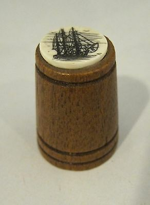 Older Thimble Wood w Scrimshaw Sailing Ship Vessel NICE!  M10