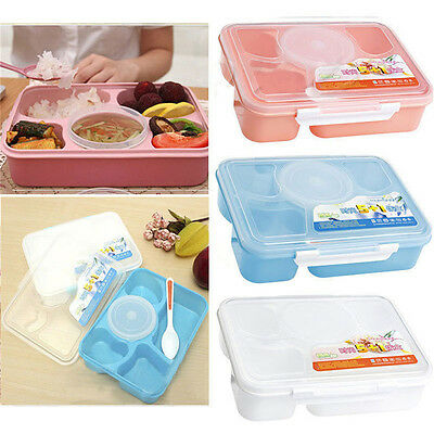 Microwave Bento Lunch Box + Spoon Utensils Picnic Food Container Storage Box 3Q