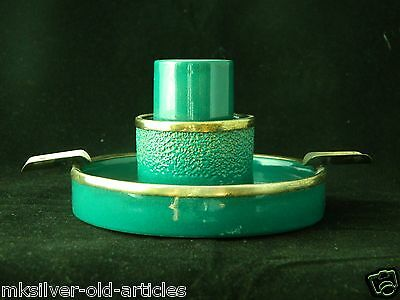 Vintage 1928 English Hallmark Ceramic Ash Tray & Candle Stick Holder With Silver