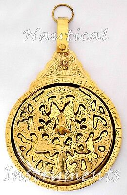 "9"" Polished Brass Astrolabe Arabic Calendar Marine Navigation Astrological Globe"