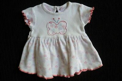 Baby clothes GIRL premature/tiny<8lbs/3.5kg SS butterfly/bird white/pink dress