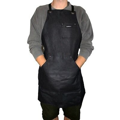 Heavy Duty Waxed Canvas Work Apron w/ Tool Pocket Men Women Workshop Apron Black