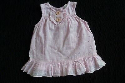 Baby clothes GIRL 6-9m pink cotton broderie anglais lined,frill dress SEE SHOP!