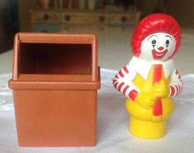 Vtg Fisher Price Little People #2552 Mc Donald's: Ronald the Clown & Trash Can