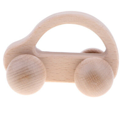 Natural Wooden Rattle Baby Montessori Developmental Toy Music Shakers - Car