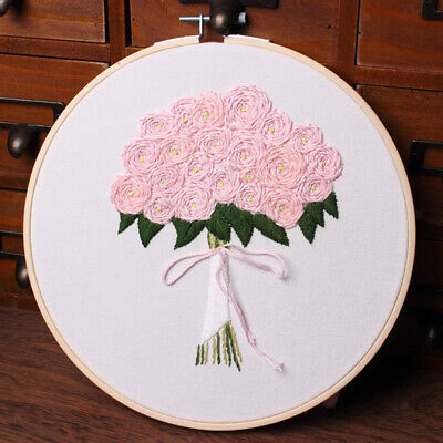 Hand Embroidery Starter Cross Stitch Kits with Heart Flower Leaves Pattern