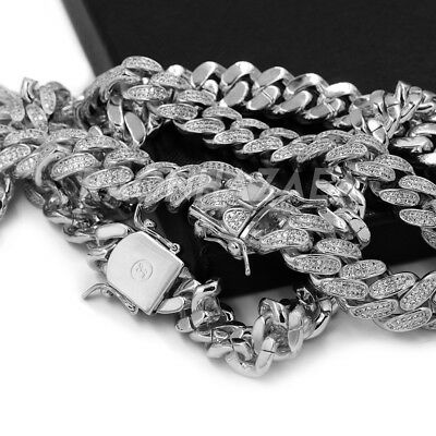 18K White Gold Iced CUBAN Miami Chain Link MicroPave Lab Diamond Necklace
