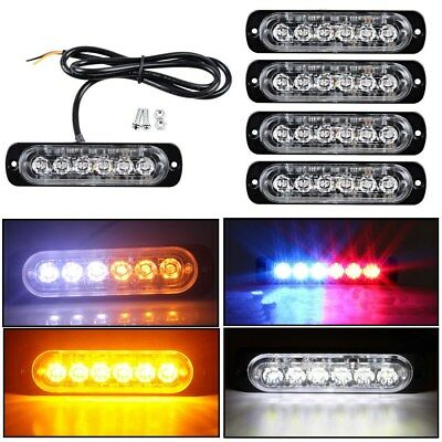 4X Amber/White 6LED Car Truck Emergency Beacon Warning Hazard Flash Strobe Light