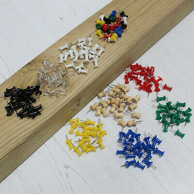 Push Pins Single Coloured & Assorted Art Craft & Cork Notice Boards 25-500 Pins
