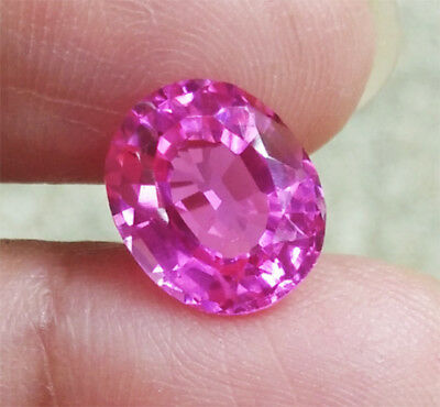 4ct. 11x9 mm. TOP COLOR! Oval LAB CORUNDUM PINK SAPPHIRE Excellent Cut AAA+++