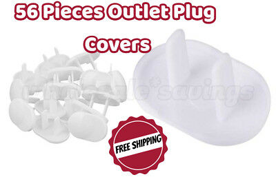 56 Safety Outlet Plug Protector Cap Covers Child Baby Proof Electric Shock Guard