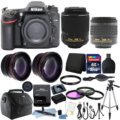 Nikon D7200 Digital SLR Camera w/18-55mm + 55-200mm Lens + 16GB Accessory Kit