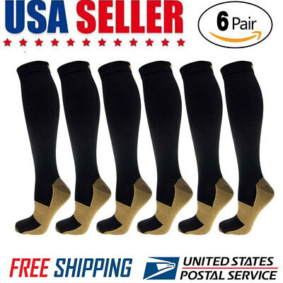 6 Pairs Copper Compression Socks 20-30mmHg Graduated Men Women Sport Socks S-XXL