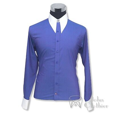 Mens Spear point collar shirt 1930s 40s Vintage Royal Blue plain Bankers Gents