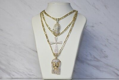 MENS GOLD Pave EGYPTIAN KEY OF LIFE ANKH CROSS BOX CHAIN 3 NECKLACE SET