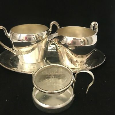 Vintage Academy Creamer Sugar Strainer Tea/coffee Set Silver On Copper