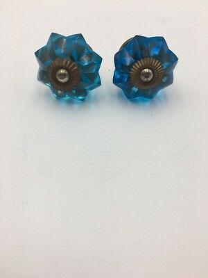 Blue Glass And Antique Brass Drawer Pulls Set Of 2