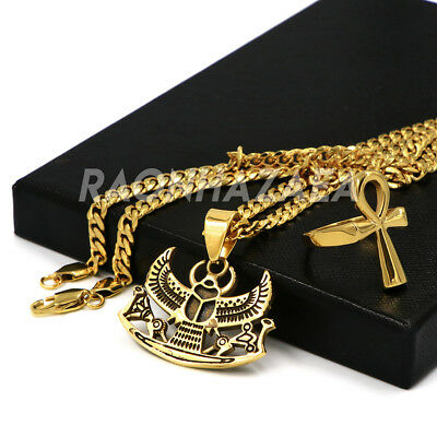Stainless Steel Gold Egyptian Scarab Beetle Pendant W Cuban Chain / Ankh Ring