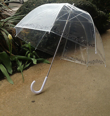 Clear Bubble Umbrella with Music Note Trim!