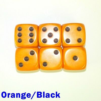Opaque Dice Dot Spot Spotted 6x 16mm D6 Orange Black Table Top Warhammer Fantasy