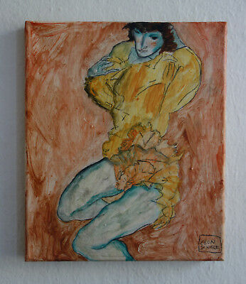 Fine expressive painting of woman, signed, Egon Schiele with COA &docs