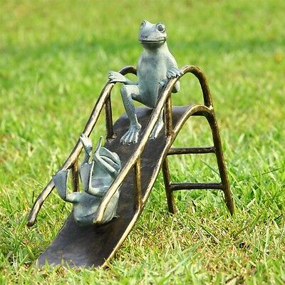 SLIDING FROGS GARDEN SCULPTURE * 25 in Frogs Playing on Slide Patio Yard Statue