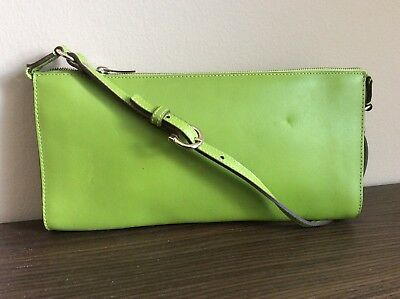 3c51adb4da SALVATORE FERRAGAMO Pre-Owned Zip Clutch Green Shoulder Bag Purse Leather  Italy